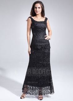 Sheath Scoop Neck Ankle-Length Lace Mother of the Bride Dress (008006085)