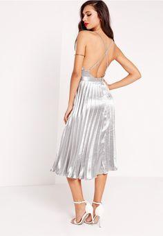 Cross Back Pleated Midi Dress Silver - Missguided