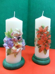 Velas de Navidad decoradas con sospeso floral.