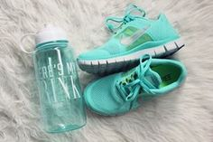 beautiful, bottle, cute, fashion, girl, girly, lovely, mint green, nike, pink, pretty, room, shoes, sporty, style, victorias secret