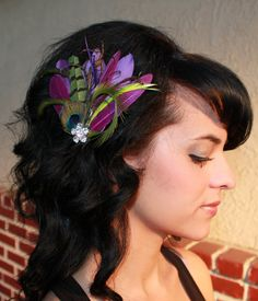 Purple Goose, Olive Green Feathers, Natural peacock Feathers and Stripped Pheasant Boutique Hair Clip Fascinator Photp Prop. $27.99, via Etsy.