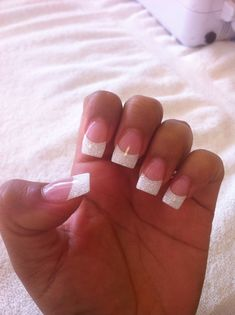White French Nails with Glitter Go with - 7 Tempting Manicure to Try Today . → French nails with glitter tips! White French Nails, Glitter French Nails, French Tip Acrylic Nails, White Glitter Nails, White Tip Nails, Square Acrylic Nails, White Acrylic Nails, Glitter Gel, French Tip With Glitter