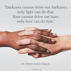 """Darkness cannot drive out darkness; only light can do that. Hate cannot drive out hate; only love can do that.""  Martin Luther King"