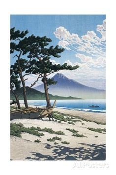 Pine Trees on the Beach with Mt Fuji in the Background, Japan Impression giclée sur AllPosters.fr