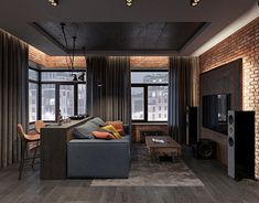 lounge loft In modern urban living, lofts and studios present a gorgeous repl… Loft Design, Home Room Design, Living Room Designs, Living Room Decor, Apartment Layout, Apartment Interior, Apartment Design, Apartment Living, Apartment Ideas