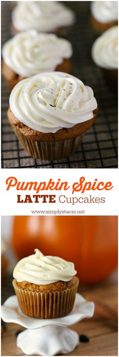 Pumpkin Spice Latte Cupcakes - Craving pumpkin baked goods? Look no further than these divine Pumpkin Spice Latte Cupcakes recipe to capture the taste of fall! Sub GF Flour add 2 1/2 tsp gum