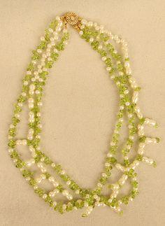 "Fresh Water Pearls & Peridot Length: 18"" Three Strands"
