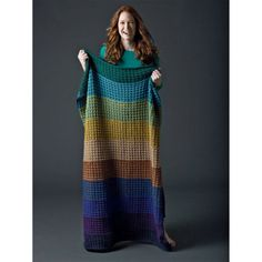 DIY Lions Pride Woolspun Knit Afghan - stay warm under this colorful striped blanket