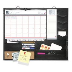 Message Center with Pink Ribbon Calendar - Support Breast Cancer Awareness and stay organized!