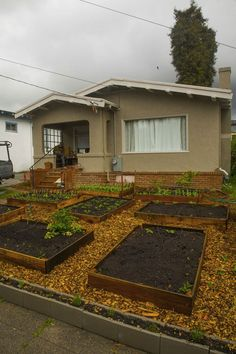 So inspirational. A veggie garden on the front lawn. I'd have to do this in the back since I'm sure it's illegal to have on your front lawn in California.