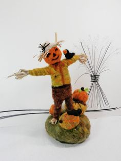 Needle felted scarecrow and pumpkins, wool soft sculpture, fall figurine, Halloween, fall, Thanksgiving decor, pumpkins and crows, orange