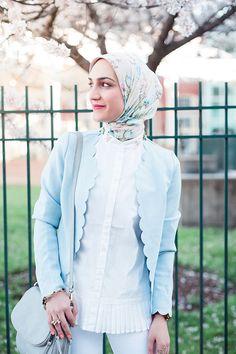 Scalloped Blazer - Spring Pastels - White Denim - Fells Point Baltimore - Hijabi Blogger - Banana Republic Pleated Top - Blush pink heels - JORD Watches