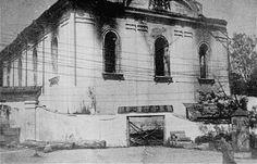 View of a destroyed synagogue in Krzemieniec, Ukraine