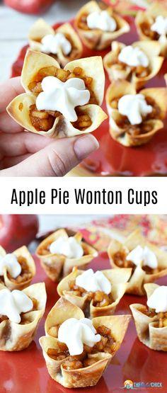 Apple Pie Wonton Cups Recipe - The Rebel Chick - Deringa Baked Apple Dessert, Apple Dessert Recipes, Dump Cake Recipes, Mini Desserts, Apple Recipes, Cookie Recipes, Delicious Desserts, Fall Recipes, Finger Desserts