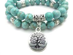 Tree of Life jewelry Yoga Mala Bracelet Turquoise Healing by HVart, $32.95