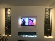 Entertainment centers – Home decoration ideas and garde ideas Tv Wall Design, Ceiling Design, House Design, Living Room Tv, Living Room With Fireplace, Contemporary Fireplace Designs, Modern Fireplaces, Fireplace Tv Wall, Modern Tv Wall Units
