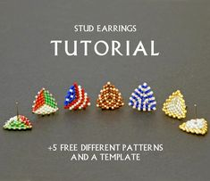 Seed Bead Stud Earring Tutorial Simple Beading Pattern Weaving Instruction Beginner Triangle Beadwork Small DIY Jewelry Free Template How to – 2019 - Weaving ideas Beaded Necklace Patterns, Beaded Bracelets Tutorial, Earring Tutorial, Seed Bead Bracelets, Seed Bead Earrings, Jewelry Patterns, Seed Beads, Stud Earrings, Jewelry Ideas