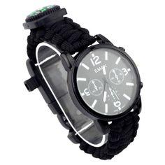 IPRee®7en1relojde la pulsera de los compás de la supervivencia de EDC 3ATM Impermeable pulsera de Paracord de la emergencia #survivalwatch