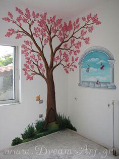 Ζωγραφική παιδικού δωματίου Ανθισμένη Κερασιά με Νεράιδες
