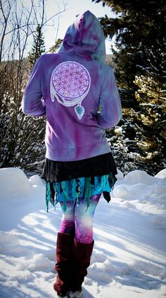 OOAK Flower of Life Dreamcatcher Splatter Dyed Nomad Traveler's Hoodie / festival hippy fairy pixie elf trippy gypsy cosmic psychedelic. $85.00, via Etsy.