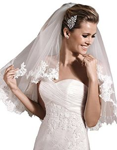 Passat White 2 Tiers 2T Short Scalloped Edge Lace Mid Length Wedding Veils Bridal Veil 228 Size 2T1st tier 24 2nd tier 36 Color White *** You can get additional details at the image link.-It is an affiliate link to Amazon.