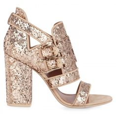 Givenchy Glitter chunky heel sandals (£266) ❤ liked on Polyvore featuring shoes, sandals, heels, sapato, givenchy, double buckle sandals, leather shoes, chunky heel sandals, two buckle sandals and glitter sandals