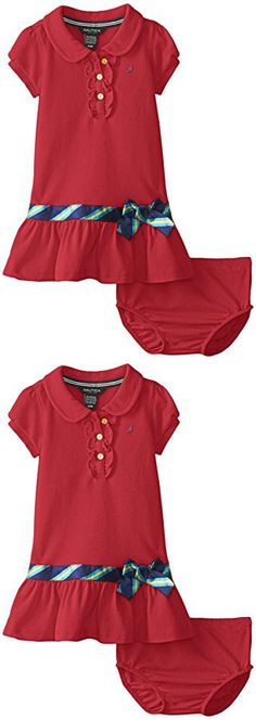 Nautica Baby Girls' Pique Polo Dress with Gold Buttons, Dark Red, 24 Months