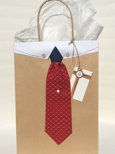 Denim and Red Diamond Necktie Gift Bag