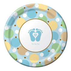 """Plates for a beach themed baby shower. Our Tiny Toes Blue 9"""" plates match the Tiny Toes shower theme."""
