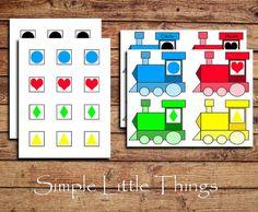 Cute Shape Matching activity - train themed  @Rachael Gackle Do this instead of alphabet train