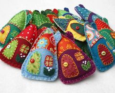 Felt christmas ornaments,Handmade felt houses,Colourful patchwork houses,Felt house Christmas ornaments,Miniature houses,Christmas in July