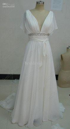 Wholesale Short Sleeves Chiffon Beach Wedding Gowns Bridal Dresses Vintage Deep V-neckline Chapel Train AD3395, Free shipping, $98.1-136.85/Piece   DHgate