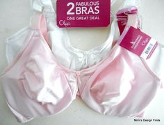ac059ad285974 OLGA Bra 2 Pack 2 Pc Set NEW 38D Cushioned Underwire 5006T 1Pink 1White NWT