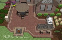Large Brick Patio Design with Grill Station-Bar and Fire Pit 2 Großes Backstein-Patio-Design mit Grill-Stations-Bar und Feuerstelle 2 Patio Pergola, Backyard Patio Designs, Pergola Designs, Backyard Landscaping, Pergola Screens, Patio Grill, Corner Pergola, Small Pergola, Pergola Swing