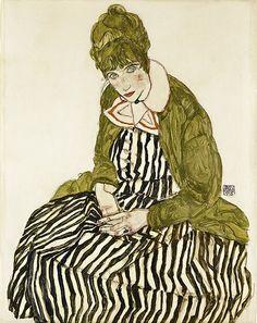 Edith Schiele in Striped Dress, Seated. Egon Schiele