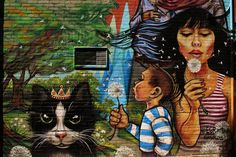 'Princess Cat and dandelions' by unknown artist in Toronto, Canada