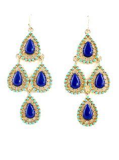 Blue Gemstone Gold Drop Dangle Earrings US$6.49