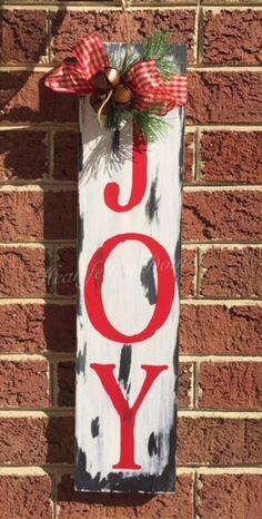 Items similar to Joy Sign - Rustic Christmas Sign - Holiday Decor - Christmas Decor - Farmhouse Christmas Decor - Christmas Wood Sign on Etsy Christmas Wood Crafts, Christmas Signs Wood, Farmhouse Christmas Decor, Christmas Door, Blue Christmas, Rustic Christmas, Christmas Decorations, Christmas Ornaments, Christmas Ideas