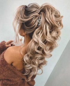 Formal Hairstyles For Long Hair, Hairdo For Long Hair, Long Hair With Bangs, Very Long Hair, Long Curly Hair, Curly Hair Styles, Bride Long Hairstyles, Curly Ponytail Hairstyles, Side Ponytail Updo