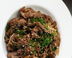 Simple but delicious recipe for authentic Korean Bulogi (Korean barbequed beef) from Savory Sweet Life. Serve over steamed rice. savorysweetlife