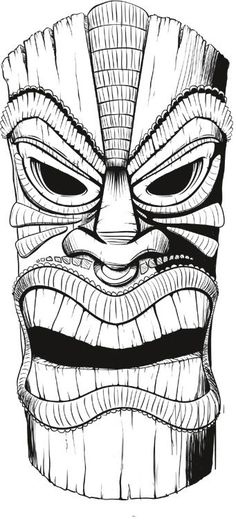 tiki mask line art. coloring book, coloring page.