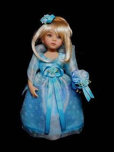 "OOAK *Evening Blue Organdy* Dress Ensemble for 13"" Effner Little Darling Doll"