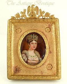 Signed Antique French Miniature Ivory Portrait Painting Of Empress Josephine In Gilt Bronze Frame