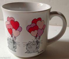 Fat Cat Heart Balloons Sandra Boynton Bouquet Coffee Mug Cup Handled Valentine | eBay