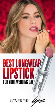 Sofia Vergara is pictured wearing COVERGIRL Outlast Lipstick in Phantom Pink 900. Follow this easy guide for lip color that lasts hour after hour on your big wedding day! Step 1: Apply Outlast Lipstick directly from the tube, or for a more dramatic look, paint of with a lip brush. Step 2:  Blend, blot and go!