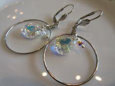 Handmade For You  Beautiful Swarovski Crystal Charms Beaded Silver Hoop Earrings, Glittery Eye Catching Sparkle!  Lever Backs E146 by JewelsHandmadeForYou on Etsy