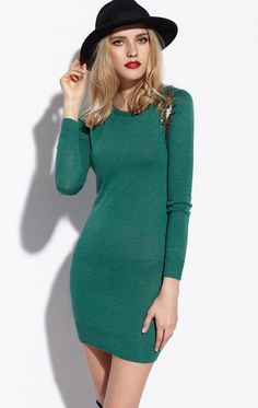 Morpheus Boutique  - Teal Long Sleeve Knit Banded Dress, CA$104.86 (http://www.morpheusboutique.com/new-arrivals/teal-long-sleeve-knit-banded-dress/)