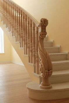 Wooden Staircase Railing, Stair Railing Design, Interior Staircase, Modern Stairs, House Stairs, Ornament, Custom Wood, Stairways, Newel Posts