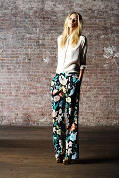 Floral pants and a crisp white shirt. A springtime uniform.