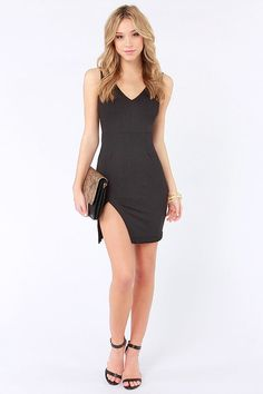 Cut a Fine Figure Black Bodycon Dress at LuLus.com!